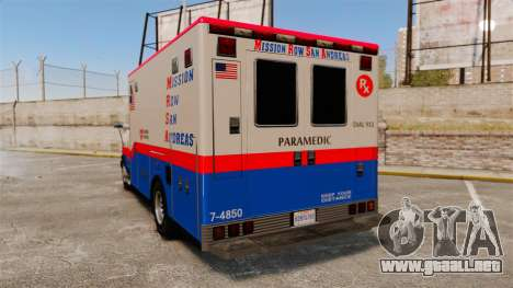 Brute MRSA Paramedic para GTA 4 Vista posterior izquierda