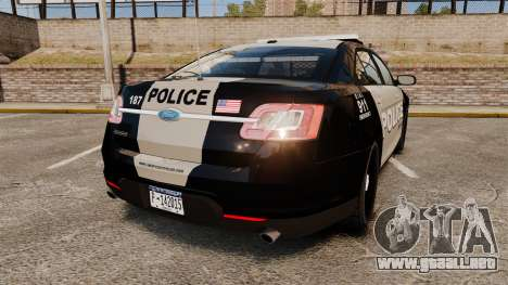Ford Taurus LCPD Interceptor 2011 [ELS] para GTA 4 Vista posterior izquierda