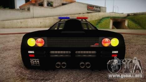 McLaren F1 Police Edition para vista lateral GTA San Andreas