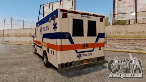 Brute CHMC Ambulance para GTA 4 Vista posterior izquierda
