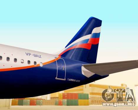 Airbus A320-200 De Aeroflot para GTA San Andreas vista hacia atrás