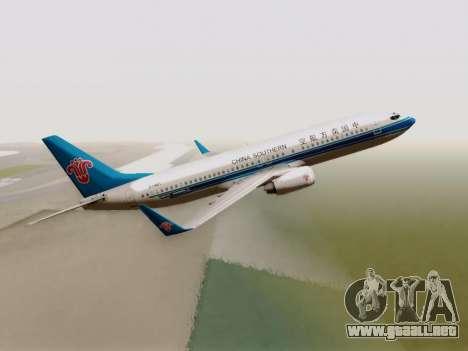 China Southern Airlines Boeing 737-800 para GTA San Andreas vista hacia atrás