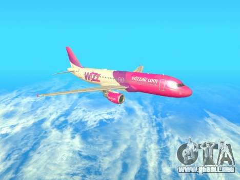 Airbus A320-200 WizzAir para vista lateral GTA San Andreas