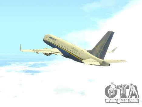 Embraer 175 HOUSE para GTA San Andreas vista hacia atrás