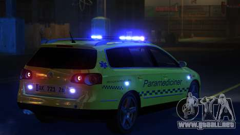 Volkswagen Passat Variant 2010 Paramedic [ELS] para GTA 4 Vista posterior izquierda