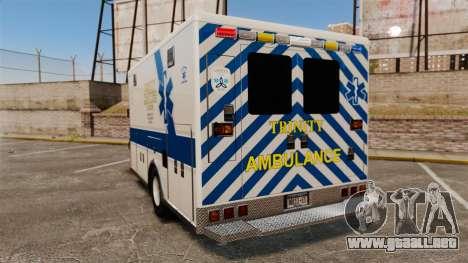 Brute Speedo TEMS Ambulance [ELS] para GTA 4 Vista posterior izquierda