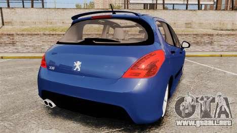 Peugeot 308 GTI para GTA 4 Vista posterior izquierda