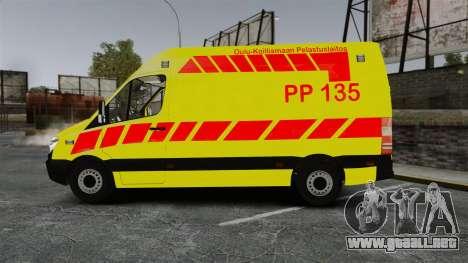 Mercedes-Benz Sprinter Finnish Ambulance [ELS] para GTA 4 left
