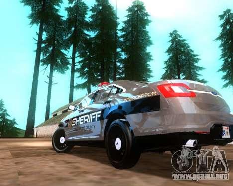 Ford Interceptor Los Santos County Sheriff para GTA San Andreas vista posterior izquierda