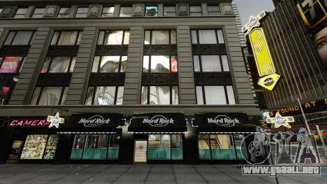 El Hard Rock cafe en times square para GTA 4 segundos de pantalla