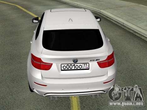 BMW X6M 2010 para GTA San Andreas vista posterior izquierda