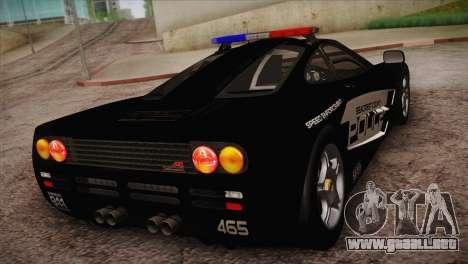 McLaren F1 Police Edition para GTA San Andreas vista posterior izquierda