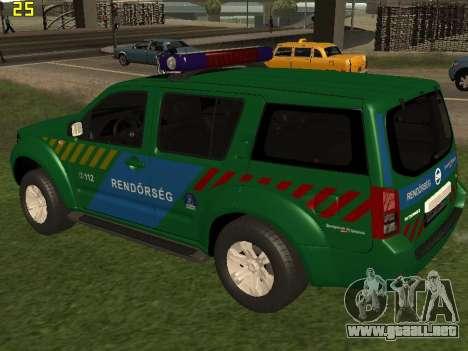Nissan Pathfinder Police para GTA San Andreas vista posterior izquierda