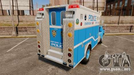 Mack R Bronx 1993 NYPD Emergency Service para GTA 4 Vista posterior izquierda