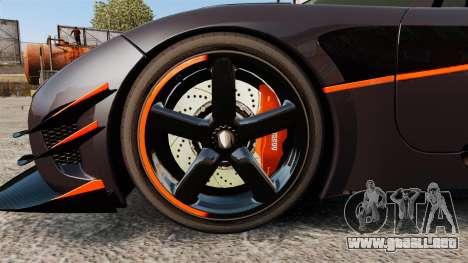 Koenigsegg One:1 para GTA 4 vista hacia atrás