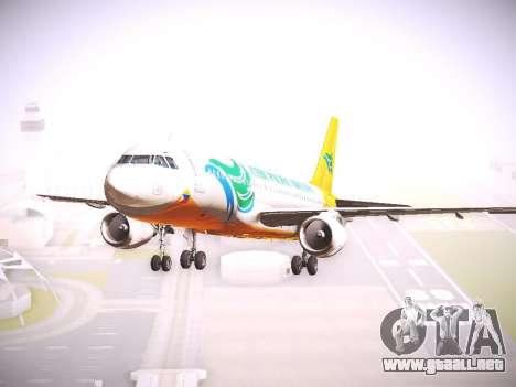 Airbus A320 Cebu Pacific Air para GTA San Andreas vista posterior izquierda