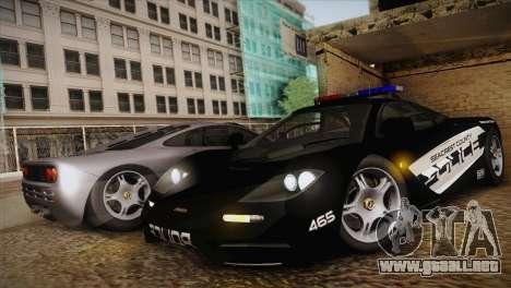 McLaren F1 Police Edition para GTA San Andreas left
