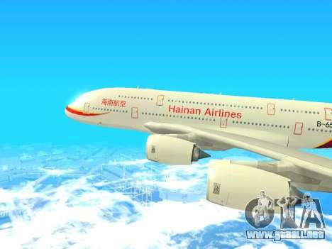 A380-800 Hainan Airlines para GTA San Andreas vista posterior izquierda
