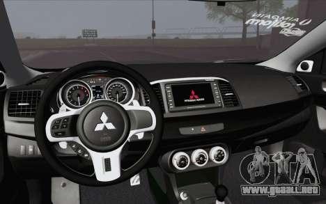 Mitsubishi Lancer Evo X GangLow para la visión correcta GTA San Andreas
