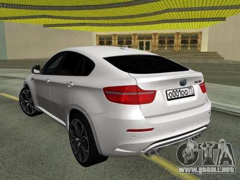 BMW X6M 2010 para GTA San Andreas vista hacia atrás