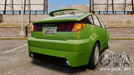 Karin Dilettante new wheels para GTA 4 Vista posterior izquierda