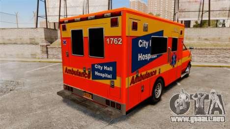 Brute CHH Ambulance para GTA 4 Vista posterior izquierda