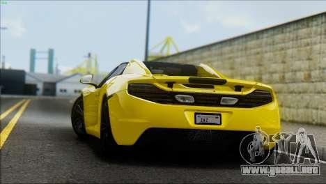 McLaren MP4-12C Spider para GTA San Andreas vista posterior izquierda