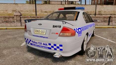 Ford Falcon XR8 Police Western Australia [ELS] para GTA 4 Vista posterior izquierda