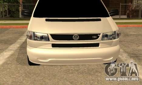 Volkswagen T4 Transporter para GTA San Andreas vista hacia atrás