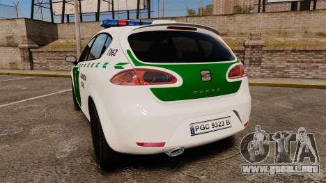 Seat Cupra Guardia Civil [ELS] para GTA 4 Vista posterior izquierda
