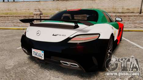 Mercedes-Benz SLS 2014 AMG UAE Theme para GTA 4 Vista posterior izquierda