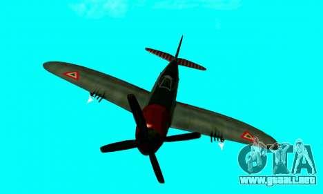 P-47 Thunderbolt para GTA San Andreas vista hacia atrás