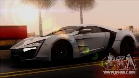 W Motors Lykan Hypersport 2013 para GTA San Andreas vista posterior izquierda