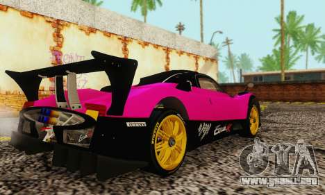 Pagani Zonda Type R Pink para GTA San Andreas vista posterior izquierda