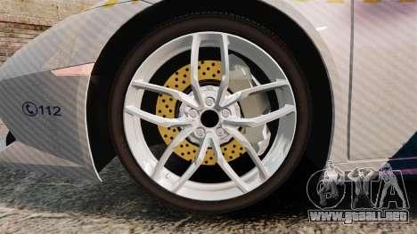 Lamborghini Huracan Hungarian Police [Non-ELS] para GTA 4 vista hacia atrás