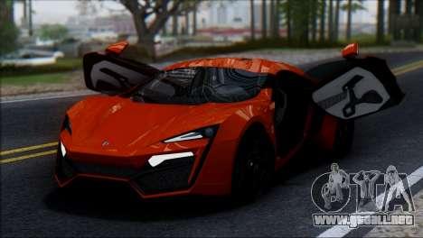 W Motors Lykan Hypersport 2013 para GTA San Andreas vista hacia atrás