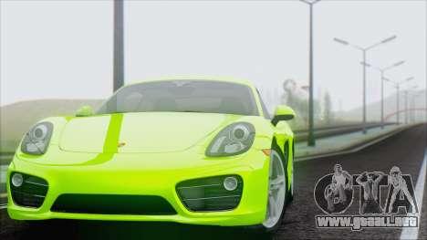 Porsche Cayman S 2014 para GTA San Andreas vista hacia atrás