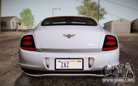Bentley Continental SuperSports 2010 v2 Finale para la vista superior GTA San Andreas