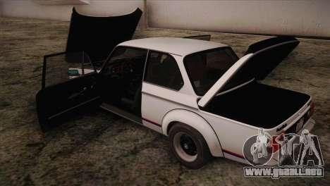 BMW 2002 1973 para vista lateral GTA San Andreas