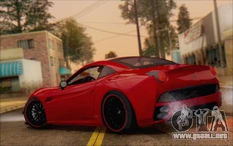 Ferrari California v2 para GTA San Andreas vista posterior izquierda