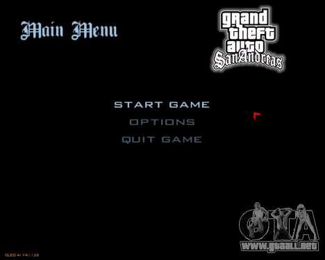 Nuevo menú de la imagen para GTA San Andreas segunda pantalla
