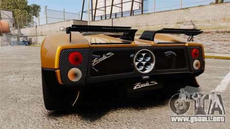 Pagani Zonda C12 S Roadster 2001 PJ2 para GTA 4 Vista posterior izquierda
