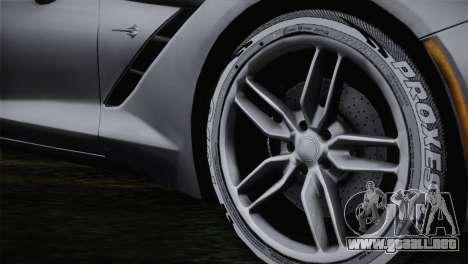 Chevrolet Corvette C7 para GTA San Andreas vista posterior izquierda