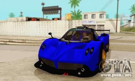 Pagani Zonda Type R Blue para GTA San Andreas vista hacia atrás