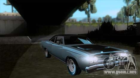 Plymouth Road RunneR 1969 para GTA San Andreas vista hacia atrás