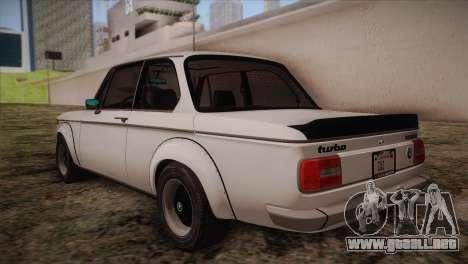 BMW 2002 1973 para GTA San Andreas vista posterior izquierda