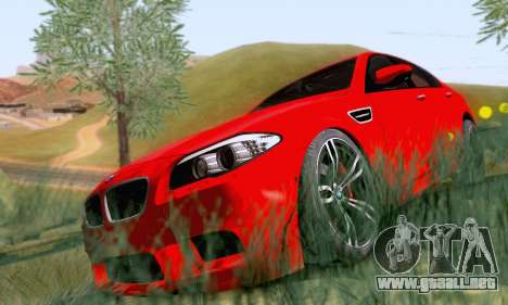 BMW F10 M5 2012 Stock para GTA San Andreas vista posterior izquierda