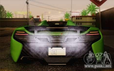 McLaren 650S Spyder 2014 para visión interna GTA San Andreas