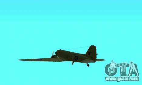 C-47 Dakota RAF para vista lateral GTA San Andreas