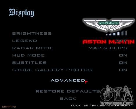 Nuevo menú de la imagen para GTA San Andreas sucesivamente de pantalla